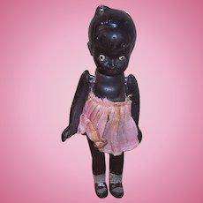 Vintage MADE IN JAPAN Bisque Doll - Black, Negro, Girl, Original Dress, Carnival Prize