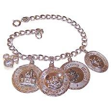 Vintage STERLING SILVER Bracelet - Charm Bracelet, 5 Charms, Mickey Mouse, Disney