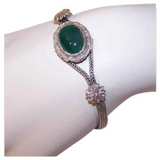 Vintage STERLING SILVER Bracelet - Chain, Green Chrysoprase, Made in Thailand