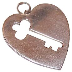 Vintage STERLING SILVER Charm - Key to My Heart