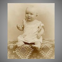 VICTORIAN Cabinet Photo - Baby Boy on Killim Rug