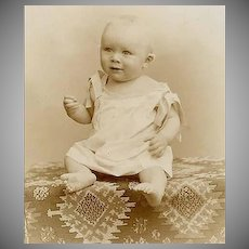 VICTORIAN Cabinet Photo - Baby Boy on Killim Rug