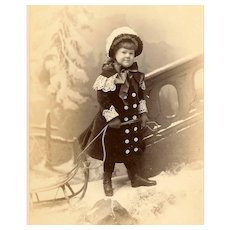 ANTIQUE VICTORIAN Cabinet Photo - Little Girl Pulling a Sled, Christmas Scene