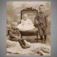 ANTIQUE VICTORIAN Cabinet Photo - Children, Brothers, Bear Skin Rug