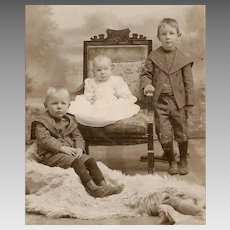 ANTIQUE VICTORIAN Cabinet Photo - Children, Brothers, Bear Skin Rug