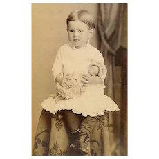 VICTORIAN Cabinet Photo - Baby Boy Holding a China Doll