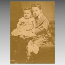 VICTORIAN Cabinet Photo - Two Brothers, Older Holding Baby, German