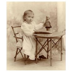 ANTIQUE VICTORIAN Cabinet Photo - Little Girl in Chair, With Doll and Book