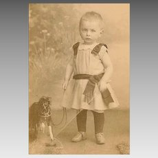 VICTORIAN Cabinet Photo - Baby Boy With Whip, Toy Horse, Pull Toy