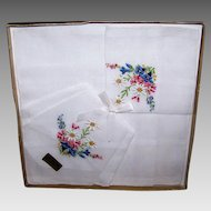 Vintage BOXED SET - Pair Cotton Hankies, Handkerchiefs, Embroidered, Floral, Swiss