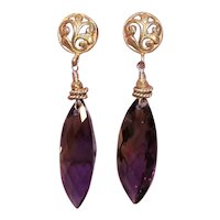 Vintage Yellow Gold Filled Faceted Ametrine Drop Earrings