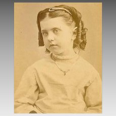 VICTORIAN Cabinet Photo - Young Girl Wearing a Headband and Necklace