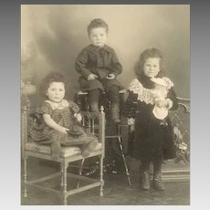 VICTORIAN Cabinet Photo - A Trio of Children, Siblings, Girls, Boy
