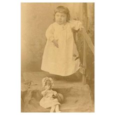 VICTORIAN Cabinet Photo - Young Girl on Stairs, Porcelain Doll, Dated 1889