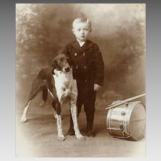 VICTORIAN Cabinet Card - Boy With His Dog, Toy Drum