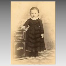VICTORIAN Cabinet Photo - Little Girl, Dressed in Black, Ornate Chinese Painted Table