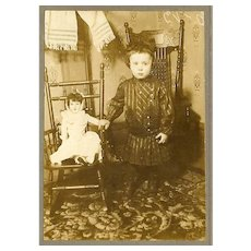 VICTORIAN Cabinet Photo - Young Girl Standing Beside Her Porcelain Doll