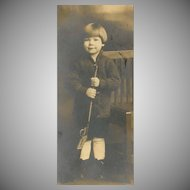 VINTAGE Photograph - Young Boy Holding Toy Gun, With Original Folder