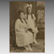 Vintage Photograph - Mother & Daughter or Sisters, Long Curls, Big Bow