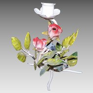 Single ITALIAN TOLE Candleholder - Pink Roses with Leaves