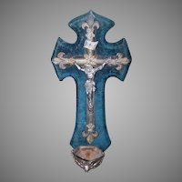 ANTIQUE FRENCH Benitier - Holy Water Font, Angel Basin, Blue Velvet, Silver