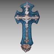 ANTIQUE FRENCH Benitier - Holy Water Font, Angel Basin, Blue Velvet, Silver