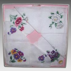Vintage BOXED SET - 4 Cotton Hankies, Handkerchiefs, Embroidered, Floral, Swiss