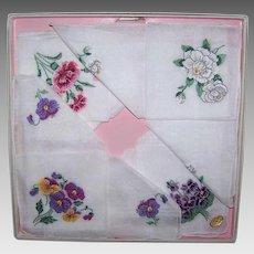 Vintage BOXED SET - 4 Cotton Hankies, Handkerchiefs, Embroidered, Floral, Swiss
