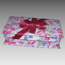 Vintage CANDY BOX - Pink, Lavender Florals, With Ribbon