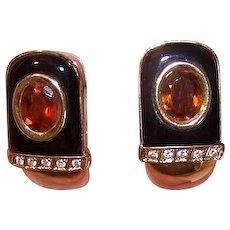 18K Gold Citrine Diamond Earrings