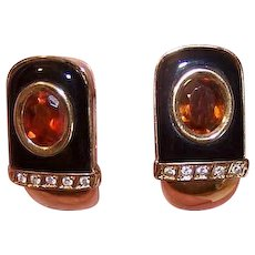 Vintage 18K GOLD Earrings - Black Onyx, Citrine, Diamonds, Pierced