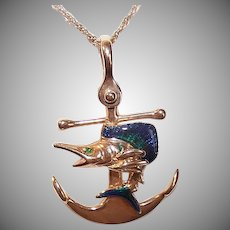 Vintage 14K GOLD Pendant - Anchor, Swordfish, Enamel, Green Tourmaline