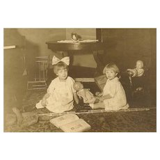 Vintage Photograph - Sisters, Large Hair Bow, Dolls, Teddy Bear
