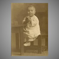 Vintage Photograph - Baby Girl, Seated, With Alphabet Blocks