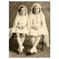 VINTAGE Photograph - First Communion, Sisters, Celluloid Prayer Books