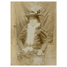 VICTORIAN Cabinet Photo - French, Lady, Fur Muff, Hat, Purse