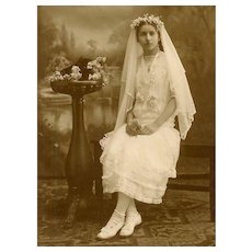 VINTAGE Photograph - First Communion, Young Girl, Incredible Lace Dress