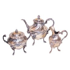 Antique Victorian 800 Silver Tea Set - Tea Pot Sugar Creamer - Rams Head Design