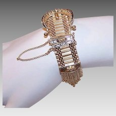 VICTORIAN REVIVAL 14K Gold Watch - Link Bracelet with Tassel, Black Enamel, 51.7 Grams