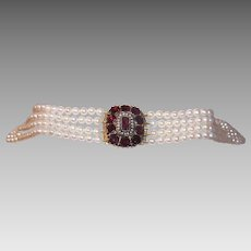 ANTIQUE GEORGIAN 14K Gold Clasp - Foil Backed, Flat Top, Garnets, Natural Pearls, Cultured Pearls