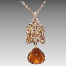 Vintage 14K GOLD Pendant - Indian Moghul, Diamond, Citrine Cab, Yellow Gold