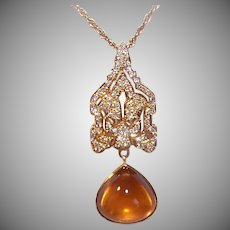 Vintage 14K GOLD Pendant - Indian Moghul, Diamond, Citrine Cab, Yellow Gold