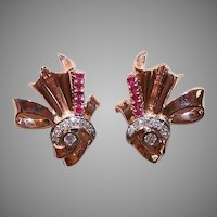 RETRO MODERN 14K Gold Earrings - Rose Gold, 1 CT TW, Diamonds, Rubies, Clips