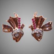 RETRO MODERN 14K Gold Earrings - Rose Gold, 1 CT TW, Diamonds, Rubies, Clips
