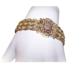 VICTORIAN REVIVAL 14K Gold Bracelet - Etruscan, Braided, .68CT Diamond, Size 7, 29.1 Grams
