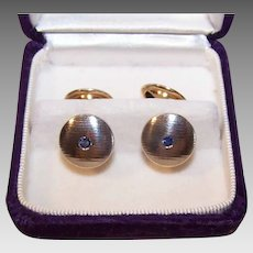 ART DECO 18K Gold Cufflinks - White Gold, Yellow Gold, .68CT TW, Blue Sapphire, Cuff Links