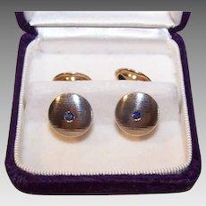 ART DECO 18K Gold Cufflinks - White Gold, Yellow Gold, .68CT TW, Blue Sapphire, Cuff Links