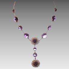 ANTIQUE VICTORIAN 14K Gold Necklace - Amethyst, Natural Pearl, Rose Gold