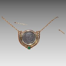 Vintage 14K GOLD Pendant - Roman, Greek, Coin, Green Chrysoprase, Slider