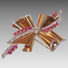 RETRO MODERN 14K Gold Fur Clip - Rose Gold, 4.37CT TW, Diamonds, Rubies, Brooch